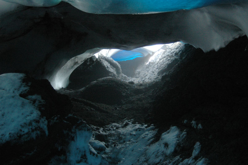 An ice cave on Antarctica's Mount Erebus.