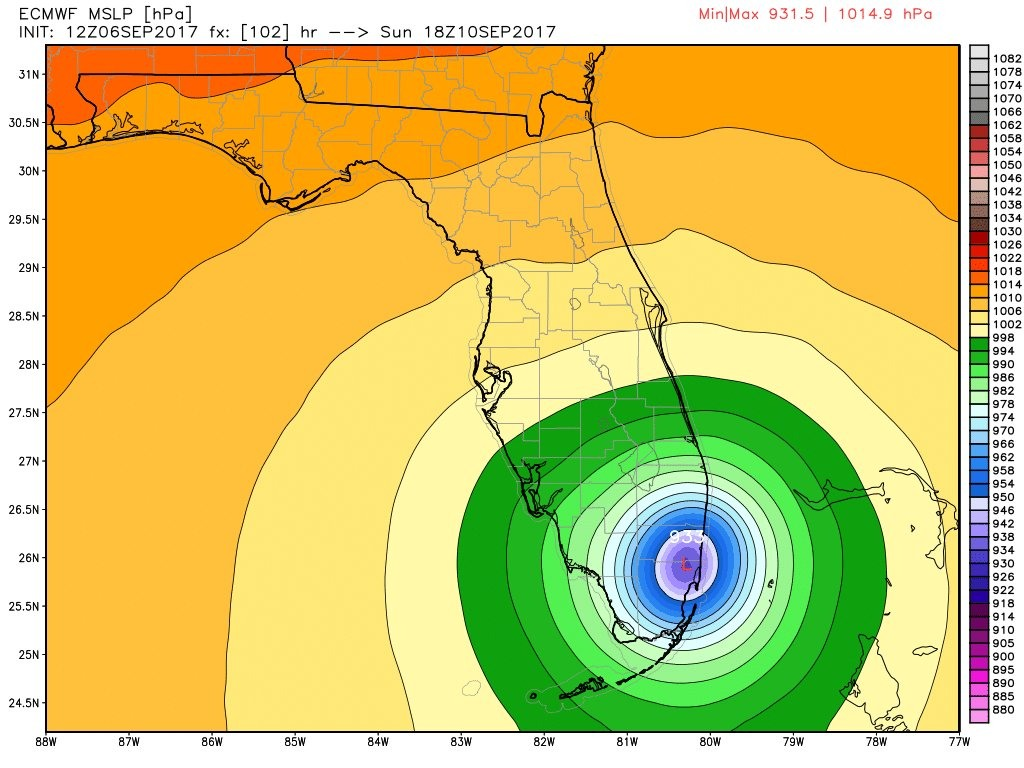 12z European operational model landfall location for Hurricane Irma