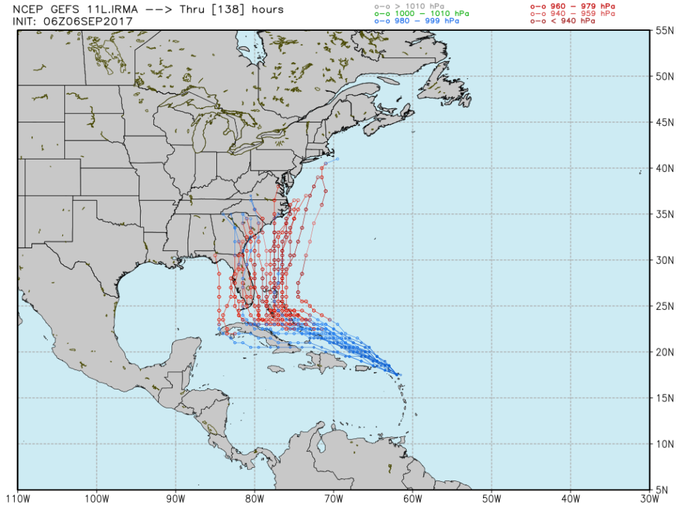 06z ensemble forecast from the GFS model. Note the broad range of outcomes in the second half of the five-day forecast—and the possibility of a Florida miss.