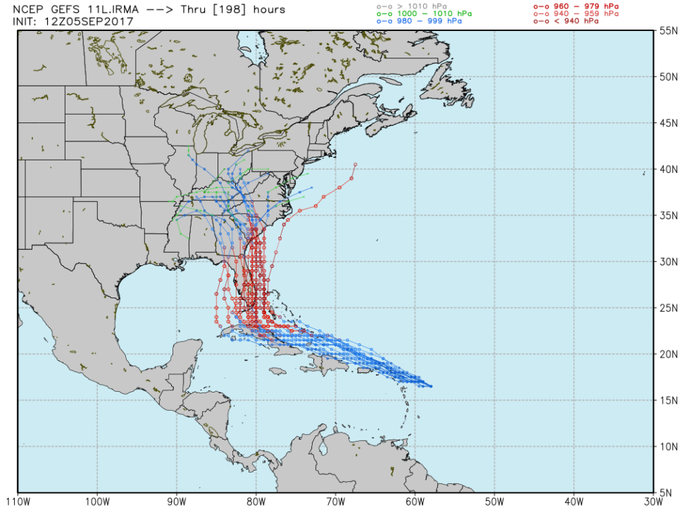 Irma's ensemble model forecast from 12z run of the Global Forecast System.