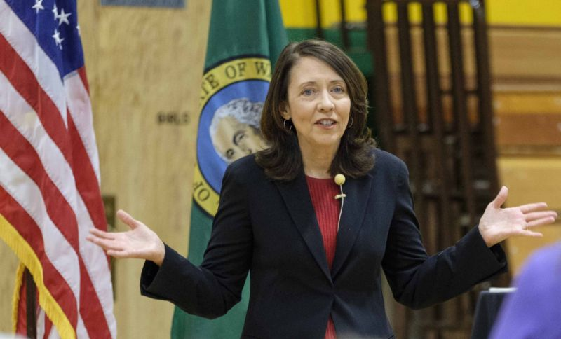 Sen. Maria Cantwell (D-Wash.) speaks during a town hall at Evergreen High School on July 8, 2017 in Seattle, Washington.