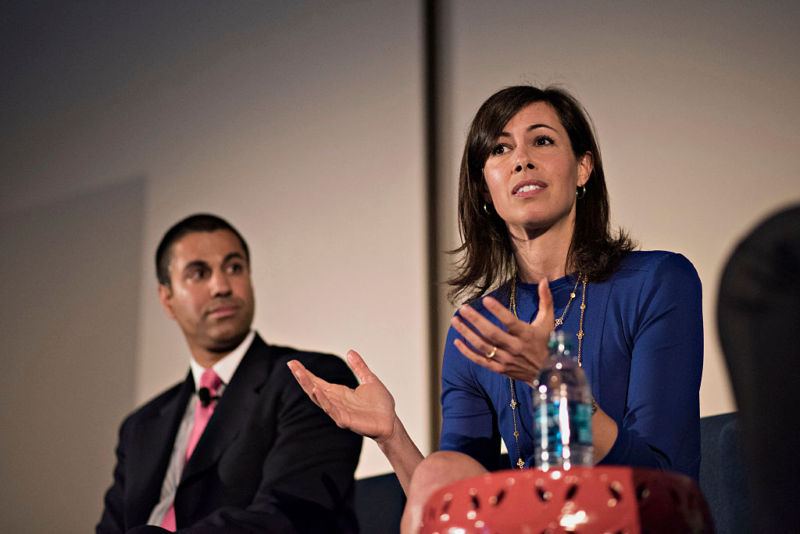 FCC members Jessica Rosenworcel and Ajit Pai at INTX: The Internet & Television Expo in Chicago, Illinois, US, on Wednesday, May 6, 2015.