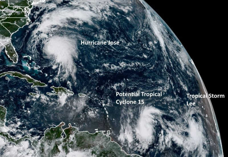 A Goes-16 satellite image on Saturday morning shows three storms of interest in the Atlantic.