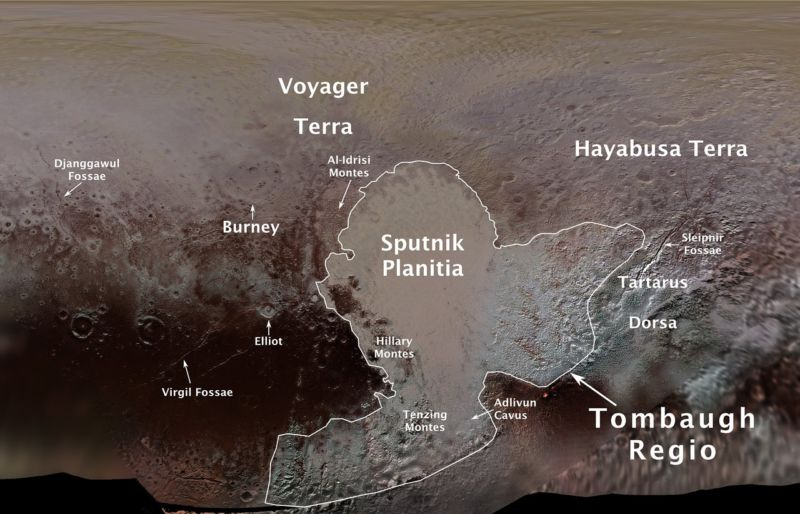 Pluto's first official surface-feature names are marked on this map, compiled from images and data gathered by NASA's New Horizons spacecraft during its flight through the Pluto system in 2015.