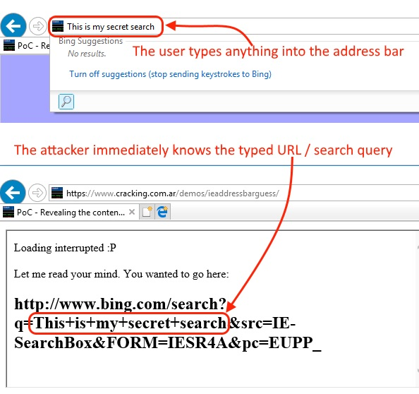 Internet Explorer bug leaks whatever you type in the address bar