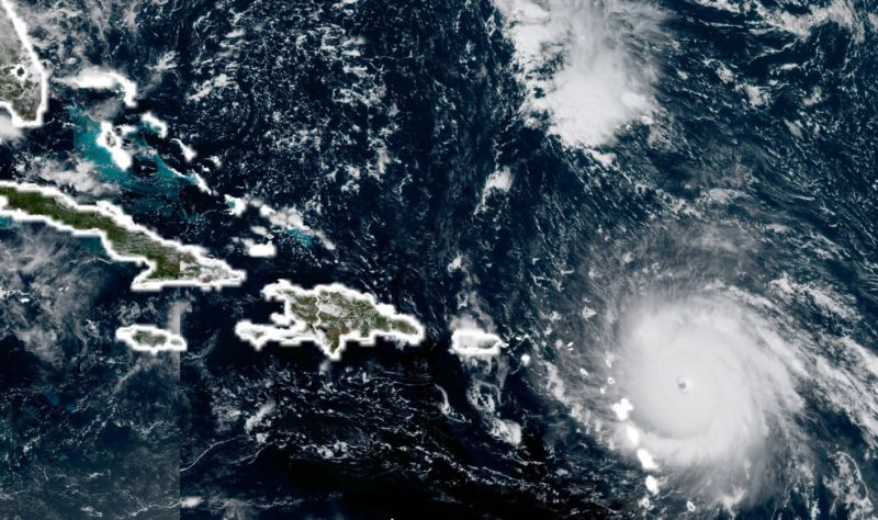 Satellite image of Hurricane Irma at 1pm ET on Tuesday.