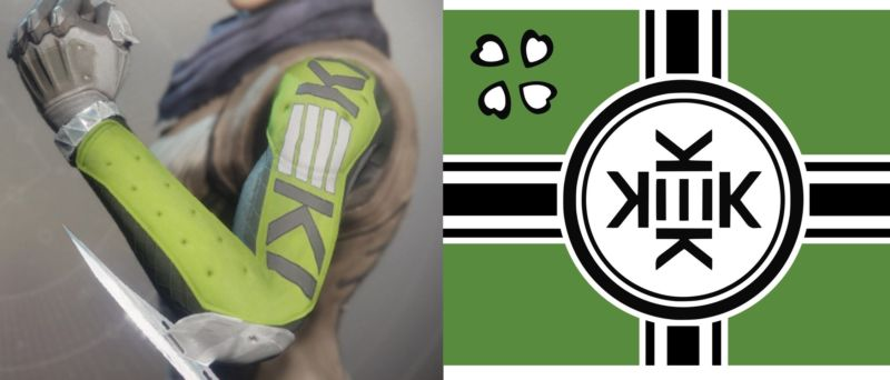 Left: The item being remove from <em>Destiny 2</em>. Right: The &quot;Kekistan&quot; meme flag that has become a rallying point for some white supremacists.