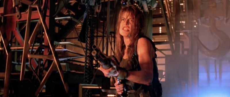 Linda Hamilton as Sarah Connor.
