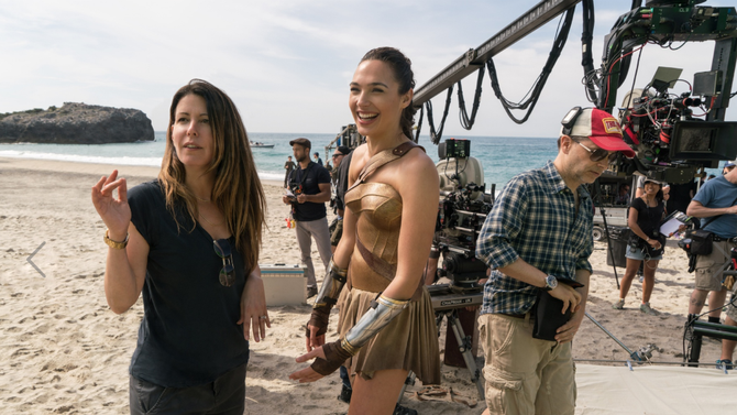 Patty Jenkins and Gal Gadot on the <em>Wonder Woman</em> set.