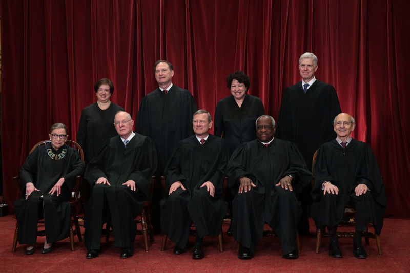 Front row from left, U.S. Supreme Court Justice Ruth Bader Ginsburg, Justice Anthony M. Kennedy, Chief Justice John G. Roberts, Justice Clarence Thomas, and Justice Stephen Breyer, back row from left, Justice Elena Kagan, Justice Samuel Alito Jr., Justice Sonia Sotomayor, and Justice Neil Gorsuch pose for a group portrait in the East Conference Room of the Supreme Court  on June 1, 2017 in Washington, DC.