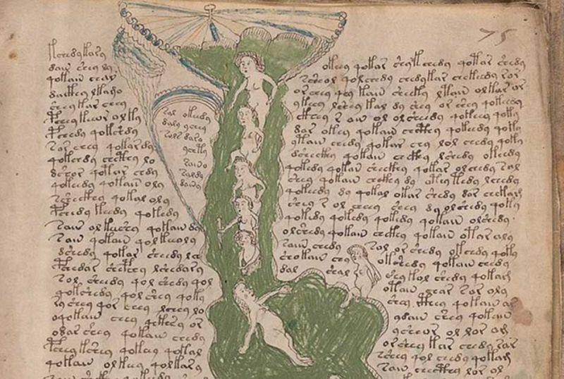 "A page from the mysterious medieval Voynich Manuscript, which is probably a health manual for women. The latest claim to ""decode"" it is being debunked by scholars."