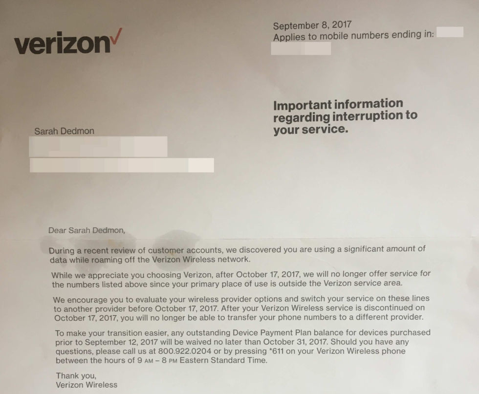 Disconnection notice sent by Verizon Wireless.