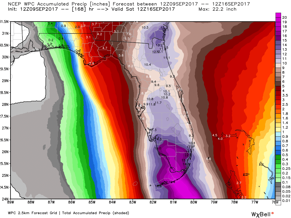 Weather Prediction Center for total rainfall in Florida from Hurricane Irma.