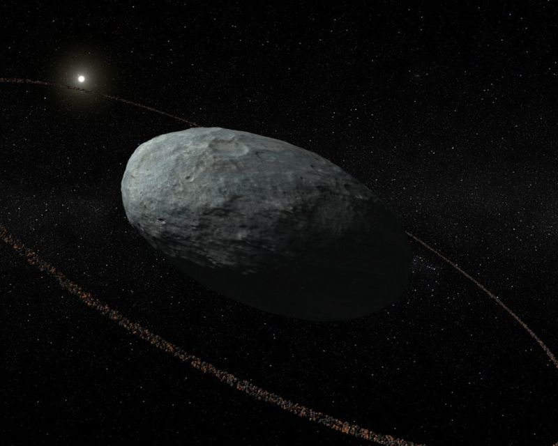 Artist's conception of the potentially ringed dwarf planet Haumea.