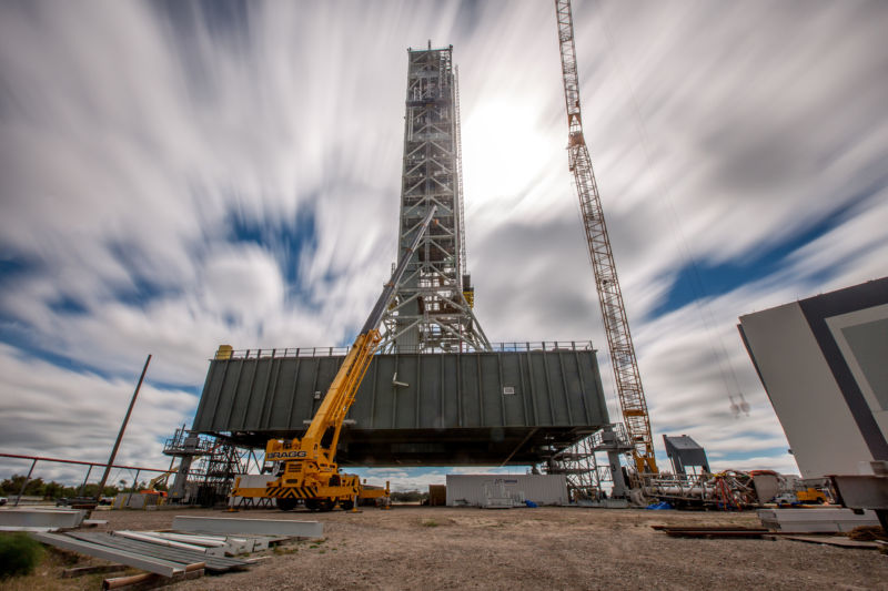 A long-exposure view of the mobile launcher at NASA's Kennedy Space Center in Florida.