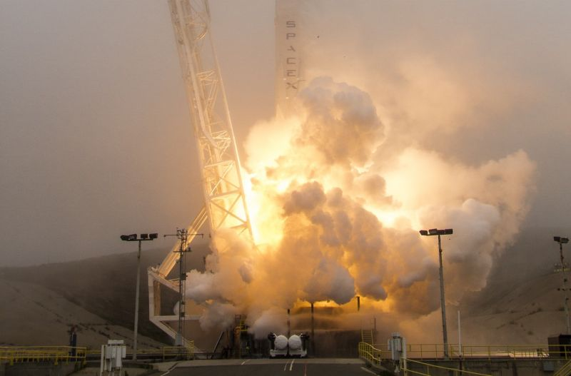 SpaceX's last mission for Iridum, in June, launched amid foggy conditions in California.