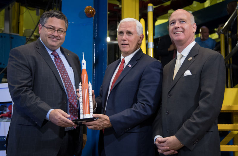 Mike Pence, center, will have the most important role in setting US space policy under the Trump administration. He leads the National Space Council.