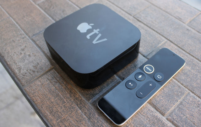The Apple TV 4K and remote.