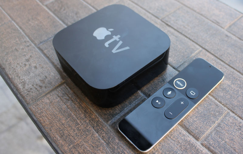 Apple TV 4K and remote control.