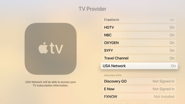 The TV provider menu in the Settings app gives you a list of all network apps that work with your provider for single sign-on.