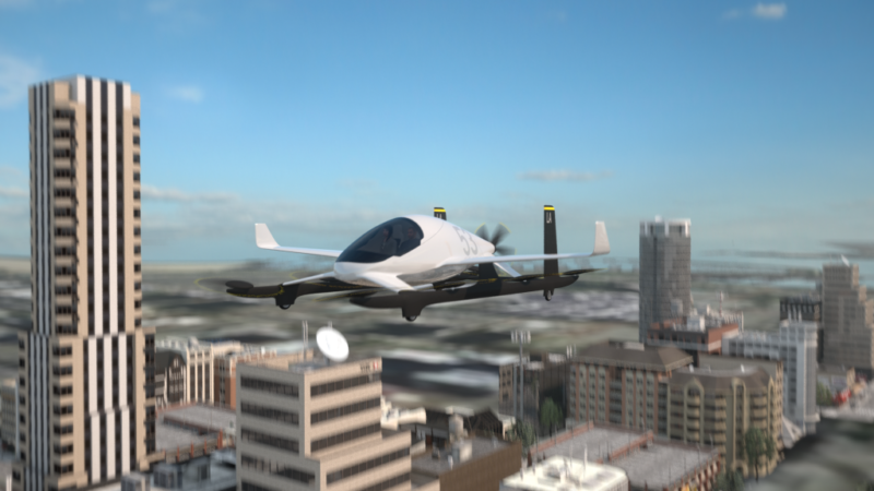 Artist's conception of Aurora's eVTOL, a prototype of a plane Uber hopes to use to offer flying car service in Dallas and Dubai starting in 2020.
