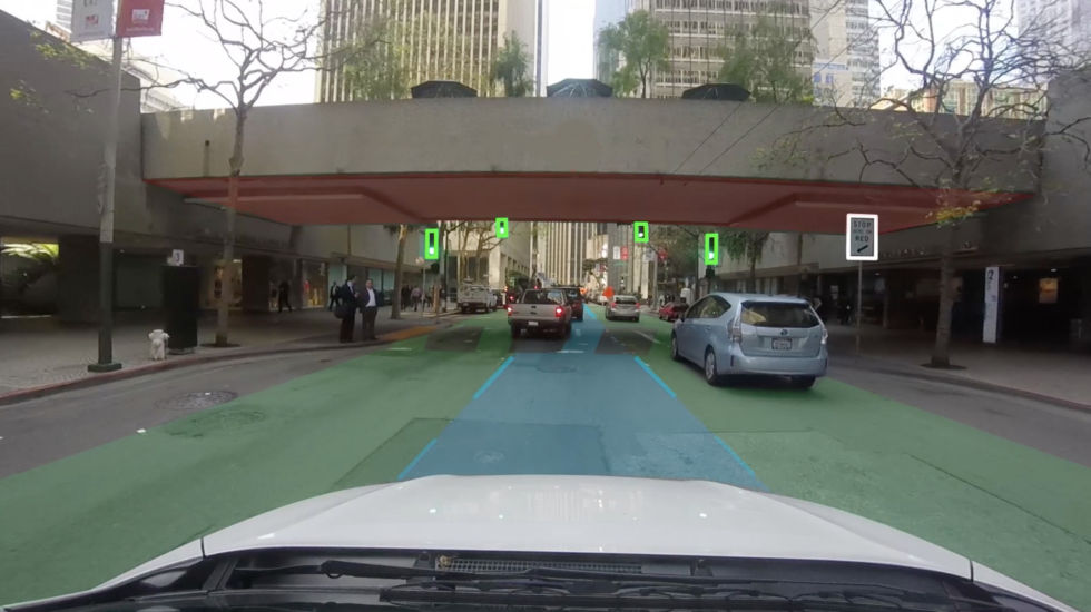 This screen capture gives a good impression of fused sensor and map data. You can see the road lanes and pedestrian crossing, as well as traffic signals.