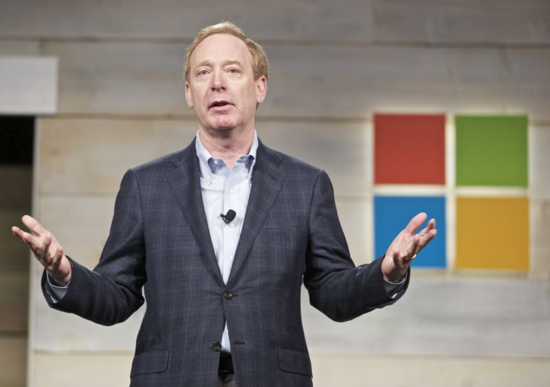 Microsoft's Brad Smith addresses shareholders during Microsoft Shareholders Meeting December 3, 2014 in Bellevue, Washington.