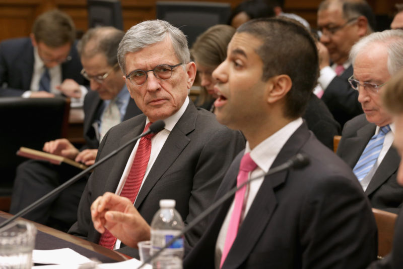 Then-FCC Chairman Tom Wheeler and then-FCC Commissioner Ajit Pai at a congressional hearing in 2015.