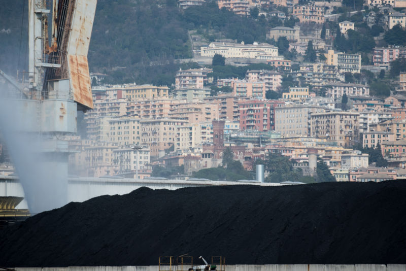 GENOA, ITALY - MARCH 15:  Coal piles sit in the storage yard at the Genoa port on March 15, 2016 in Genoa, Italy.  (Photo by Jacopo Raule/Getty Images)