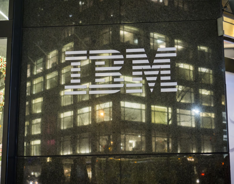 The IBM logo is seen on its building's headquarters in New York on Tuesday, December 22, 2015.