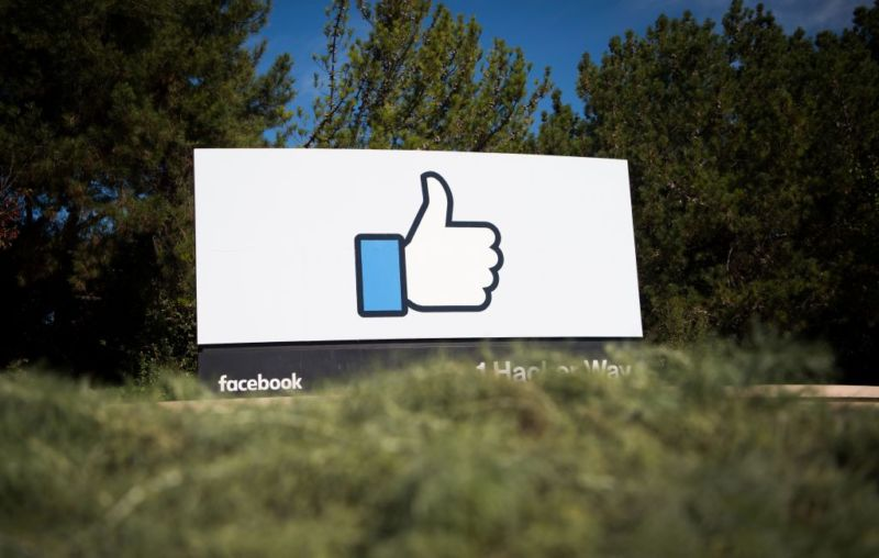 The Facebook sign and logo at its Menlo Park, California, headquarters.