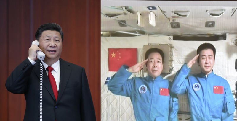 Combination photo taken on November 9, 2016 shows Chinese President Xi Jinping (L) as he talks with the two astronauts, Jing Haipeng and Chen Dong, in the space lab Tiangong-2.