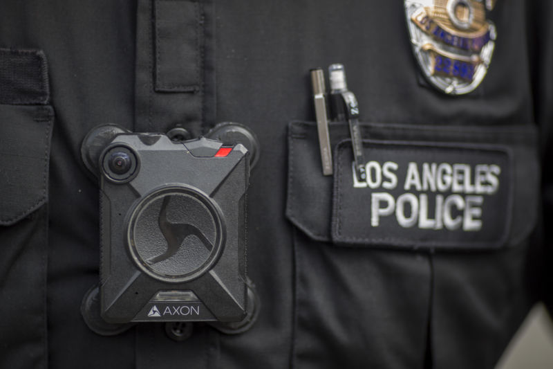 A Los Angeles police officer wears an AXON body camera during the Immigrants Make America Great March to protest actions being taken by the Trump administration on February 18, 2017 in Los Angeles, California.