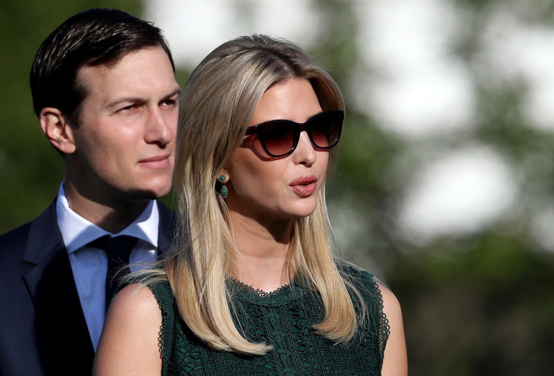 Ivanka Trump and Jared Kushner on the South Lawn of the White House.