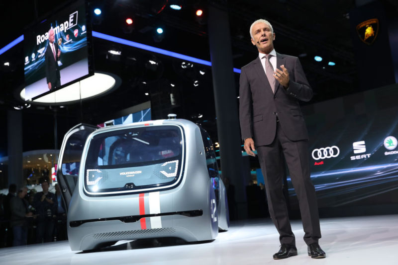 Matthias Müller, CEO of Volkswagen, at the Volkswagen Preview Night prior to the 2017 Frankfurt Auto Show.