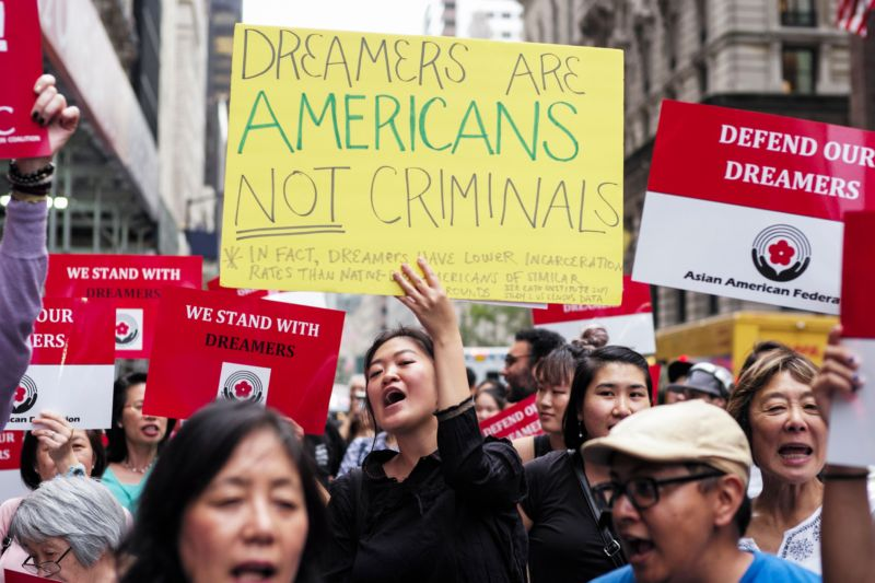 Protesters shout slogans against US President Donald Trump during a demonstration in support of the Deferred Action for Childhood Arrivals (DACA), also known as the Dream Act, near the Trump Tower in New York on October 5, 2017.
