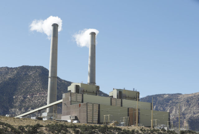 Emissions rise from smokestacks at Pacificorp's 1,000MW coal-fired power plant on October 9, 2017 outside Huntington, Utah.