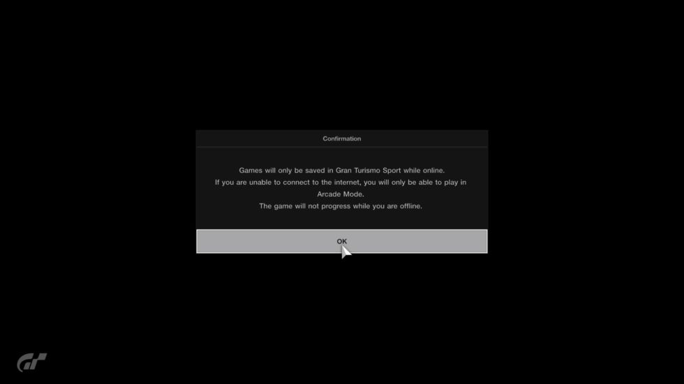 If you get this network message, most of <em>Gran Turismo Sport</em> will be inaccessible.