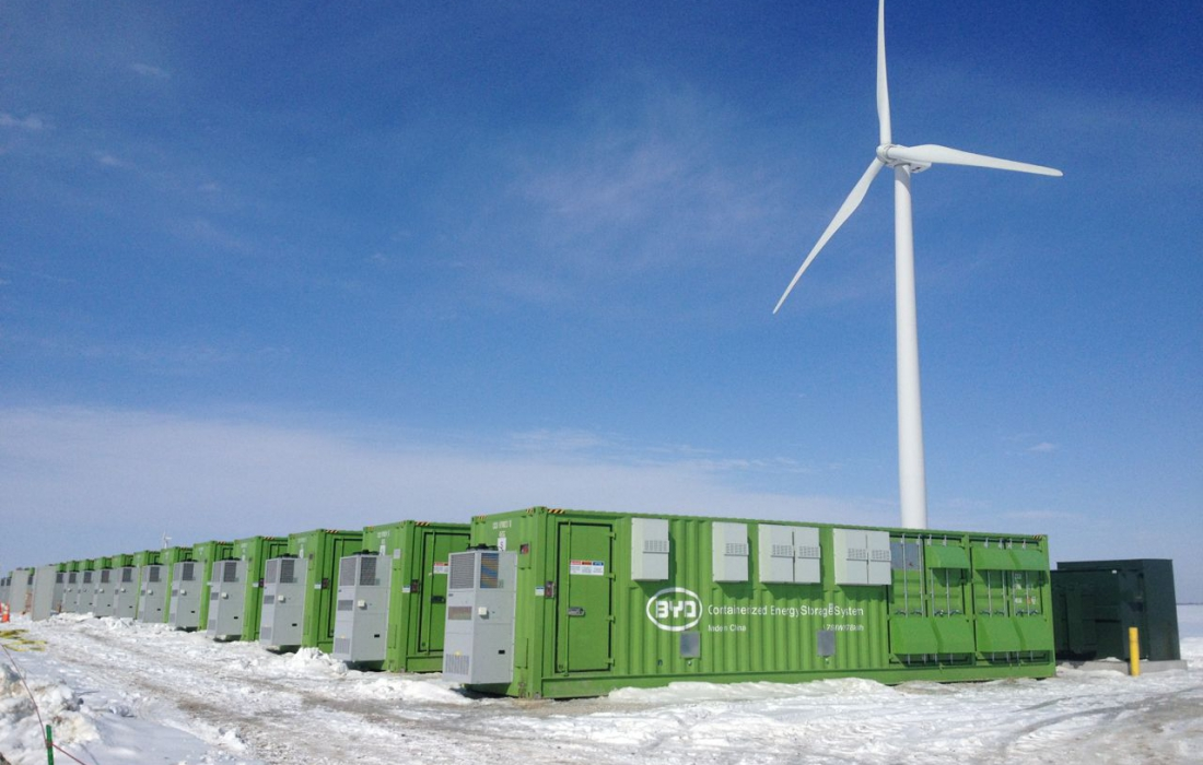 """A battery<a href=""""http://www.byd.com/usa/news-posts/invenergy-announces-start-of-commercial-operation-of-31-5-mw-grand-rodge-energy-storage-project-in-illinois/lithium-ion"""">installation</a>built by BYD in 2015 in LaSalle County, Illinois."""
