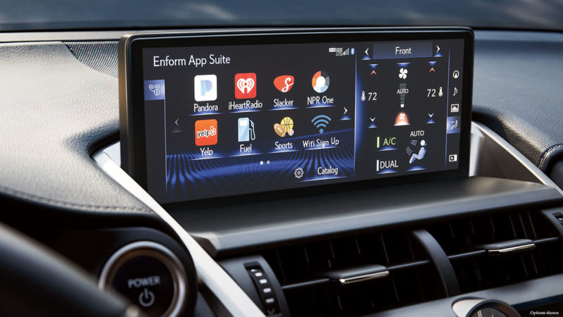 An example of an OEM infotainment system with third-party apps—in this case, Lexus.