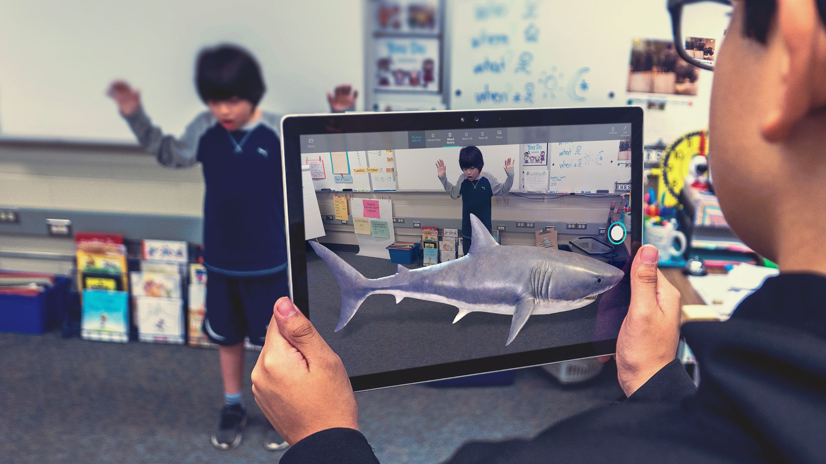 The Mixed Reality Viewer in action. The shark isn't real; it's computer generated.