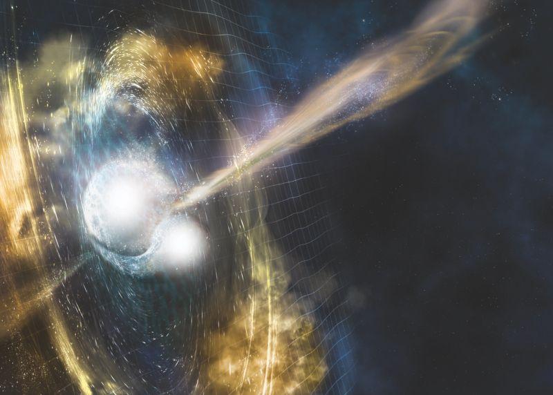 Artist's impression of LIGO's ground-breaking direction of a black hole merger.
