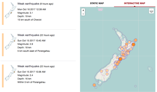 From GNS on Sunday, New Zealand has at least three instances that registered above 2.0 in magnitude.