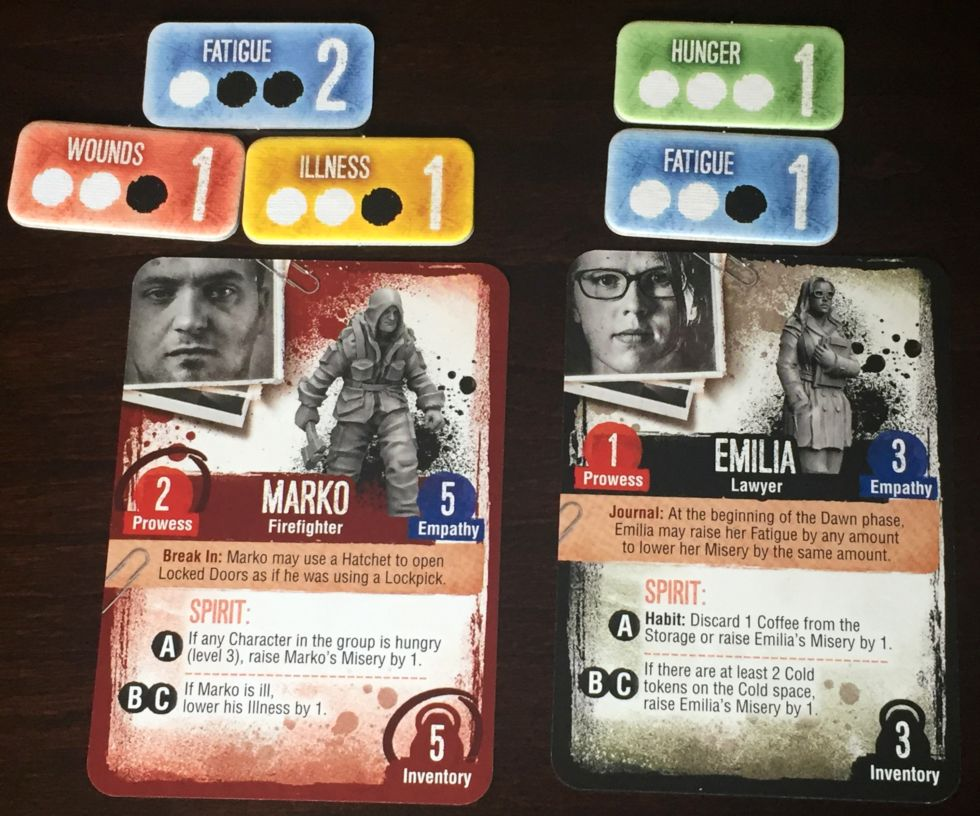 "Character cards along with associated ""conditions."""