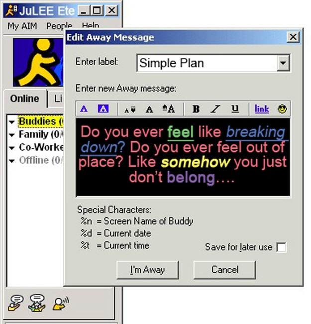 Instant Message People : Saying goodbye to the proto social network of aol instant