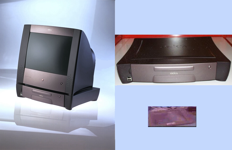 Promotional image of the Amiga MCC with a monitor (left), a prototype computer case (right), and a blurry image of a prototype MCC tablet (bottom right).