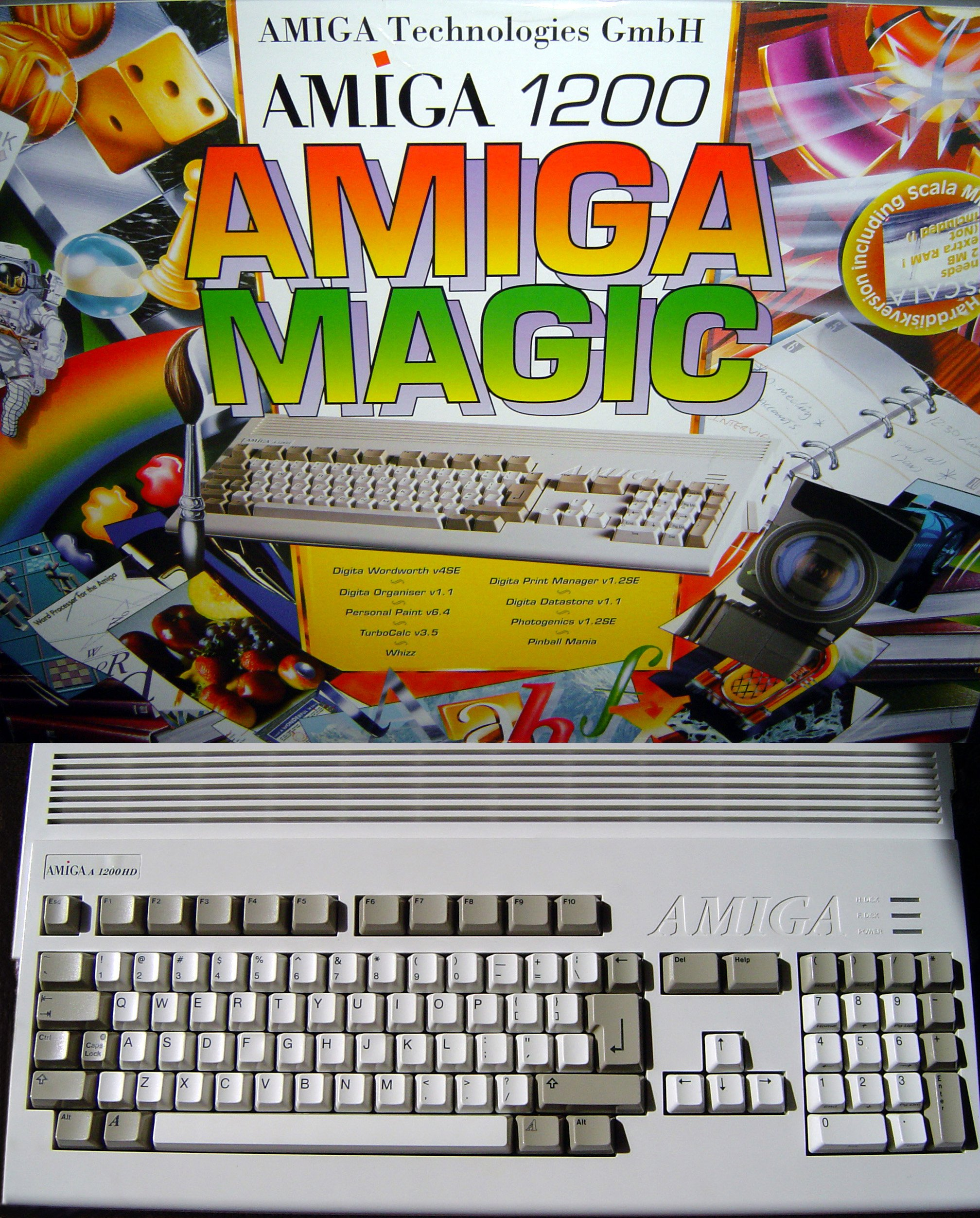 An Amiga 1200 from the ESCOM Magic Pack. Note the new Amiga logo on the box and on a sticker, even with the old logo still embossed in the case.