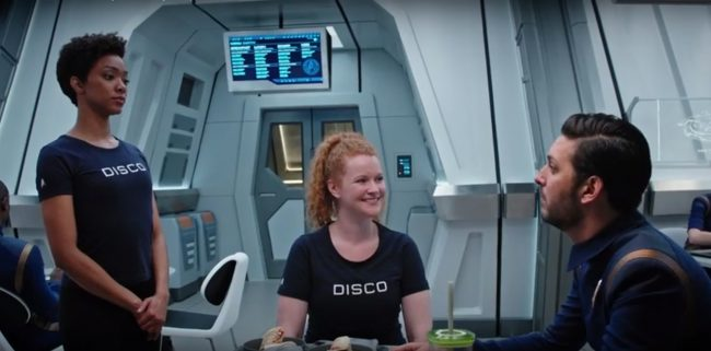 Another freaky thing about this episode is that everybody wears DISCO t-shirts. I guess that's the (delightful) nickname for the <em>Discovery?</em> Are we going to start calling this show <em>ST: DISCO?</em>