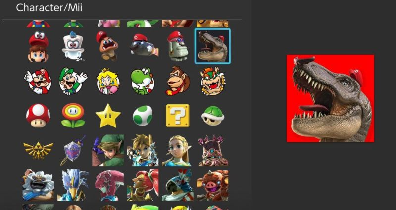 New Switch firmware, new <em>Super Mario Odyssey</em> profile-icon options! And that means T-REX MARIO! RWAAAR!
