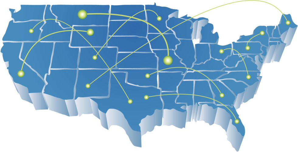 A US map with lines representing broadband networks.